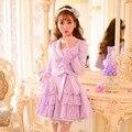 Принцесса сладкий фиолетовый пальто Конфеты дождь лук украшения цветок Вышивка Двубортный Сладкий стиль Японский дизайн C16CD6129