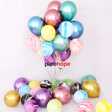10pcs 12 Marble Metallic Latex Balloons Colorful Agate Balloon Baby Shower Wedding Birthday Party Decorations Balls Supplies