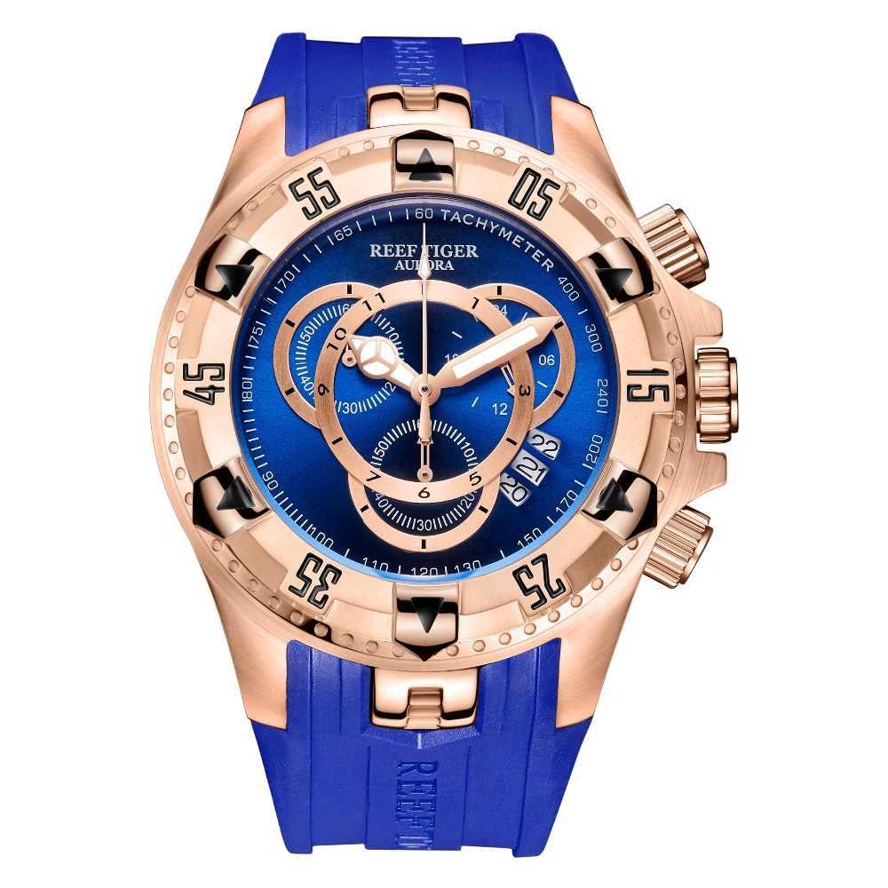 Reef Tiger/RT Top Brand Mewah Sport Watch untuk Pria Rose Gold Biru Watch Rubber Strap Jam Tangan Fashion Reloj hombre RGA303-2