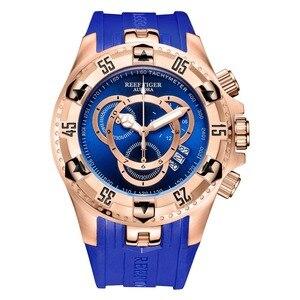 Image 1 - Resif kaplan/RT en marka lüks spor izle erkekler için gül altın mavi izle kauçuk kayış moda saatler Reloj Hombre RGA303 2
