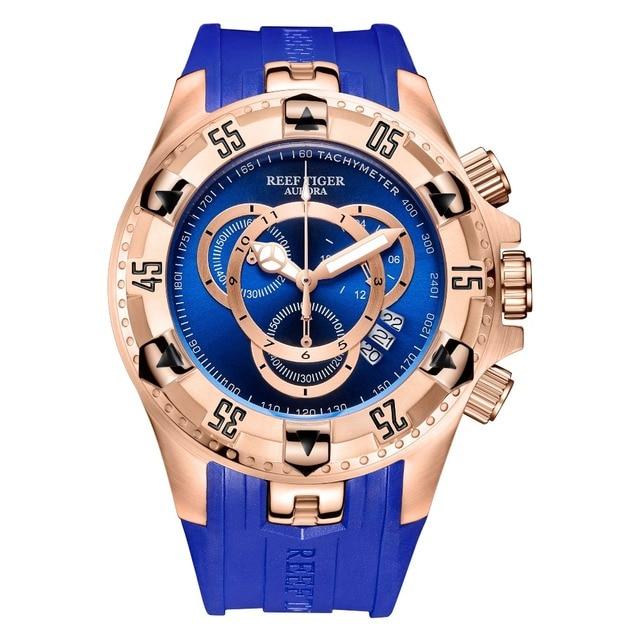 Resif kaplan/RT en marka lüks spor izle erkekler için gül altın mavi izle kauçuk kayış moda saatler Reloj Hombre RGA303 2