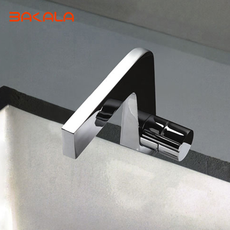 BAKALA Basin Faucet Single Handle Basin Mixer Tap Bathroom Sink Chrome Finish Square Shape Vanity SinkF8102 contemporary chrome finish single handle bathroom sink faucet silver