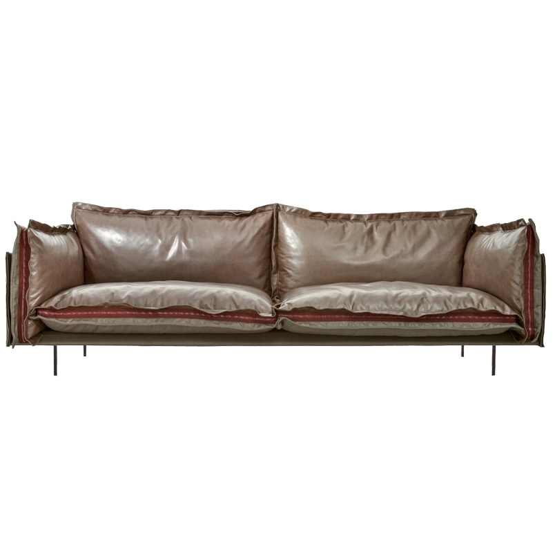Industry Chic Sofa with Leather + Fabric Cushion / High Feet Design