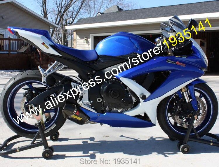 Горячие продаж,для Suzuki GSXR 600 750 К8 части 2008 2009 2010 GSXR 600/750 синий белый спортивный мотоцикл Обтекатели (литье под давлением)