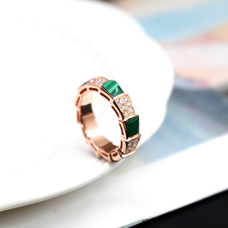 SLJELY Luxury 925 Sterling Silver Rose Gold Pink Color Snake Finger Ring with Malachite Zircon Stone Women Fashion Brand Jewelry