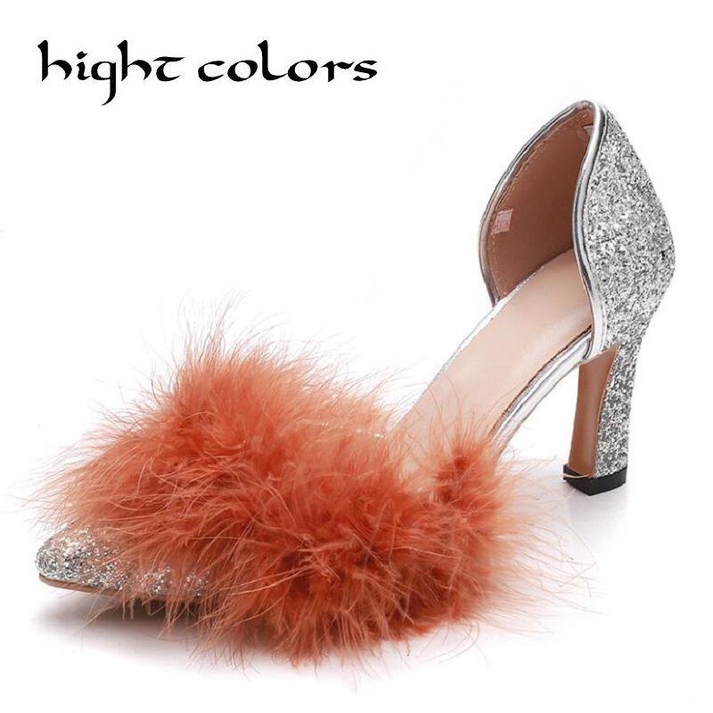 2018 NEW Women Pumps Bling High Heels Women Pumps Glitter High Heel Shoes Woman Sexy Rabbit Fur Wedding Party Shoes Size 34 40 q1251 60029 q1251 60096 designjet 5500 boot rom without ps printer plotter parts free shipping