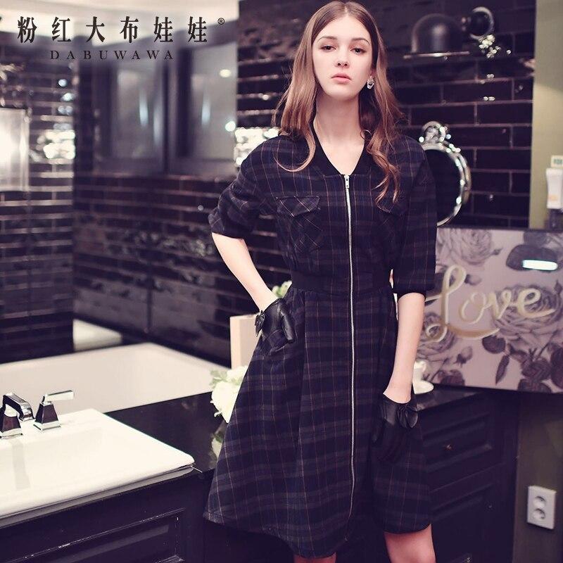 Dabuwawa New Ladies Women Fashion Plaid Coats Navy Blue Long Sleeve Elegant Swing Hem Outerwear D16CTC014