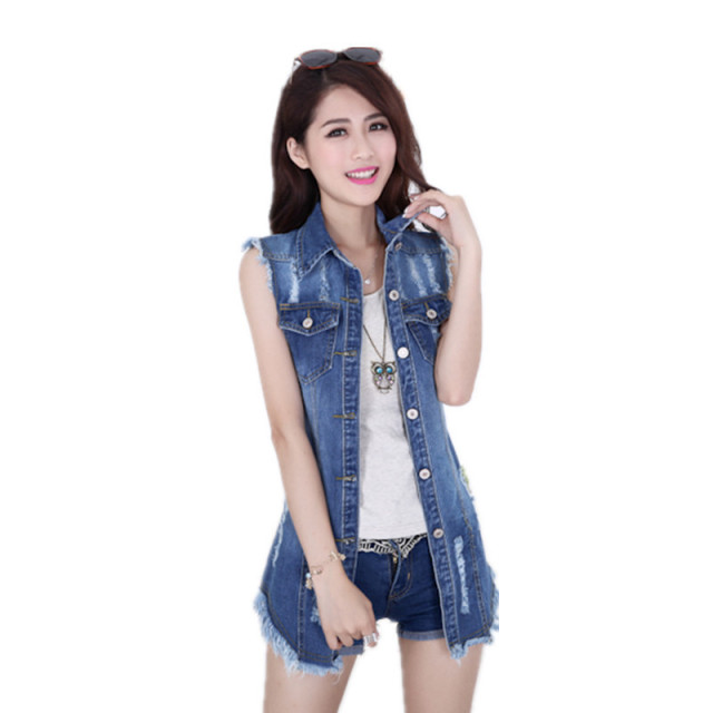 ac810f52f24 2016 women denim vest Up 4XL slim sleeveless female waistcoat long style  vest outerwear plus size