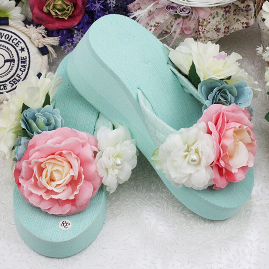 e59544e3474b36 Sale top summer women Mint green flowers with thick slope bottom flip flops  seaside beach slippers new Muffin bottom sandals-in Slippers from Shoes on  ...