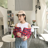 Open Shoulder Check 2 In 1 Shirt Tunic Vogue Blouse Women Top Red Button Plaid Top Fall 2018 Long Sleeve Lapel Blouse CY37