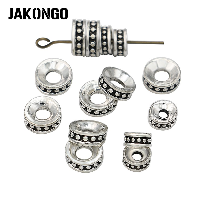 JAKONGO 40pcs Antique Silver Plated Round Spacer Beads for Jewelry Making Bracelet Loose Beads DIY Handmade Accessories jewelry making