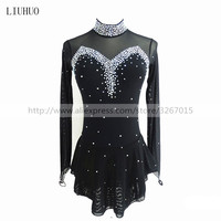 Figure Skating Dress Women's Girls' Ice Skating Dress Black collar long sleeve Competition performance clothing
