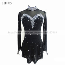 Figure Skating Dress Women's Girls' Ice Skating Dress Black collar long sleeve Competition performance clothing black ice skating dress cheap black skating dress hot sale custom skating dress women cheap ice skating dress free shipping