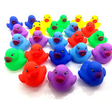 12pcs Cute Mini Colorful Rubber Float Squeaky Sound Duck Bath Toy Baby Bathroom Water Pool Funny Toys for Girls Boys Gifts(China)