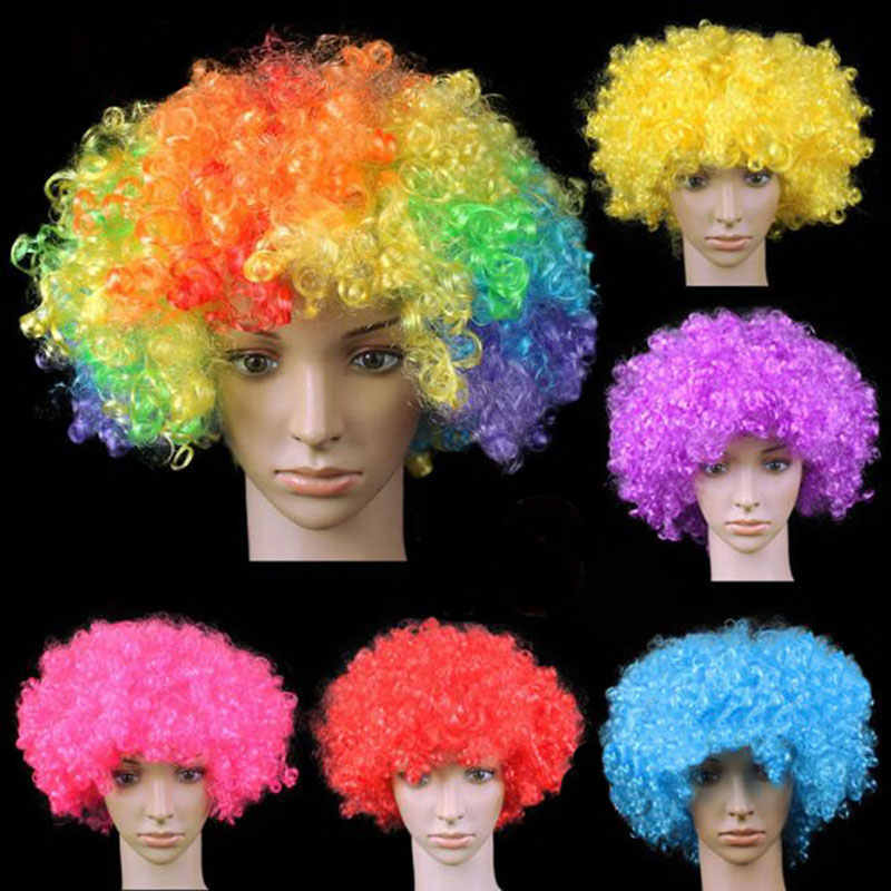 Explosion Styles Wigs Curly Hair Football Fans Party Hats Headwear Birthday Party Decoration