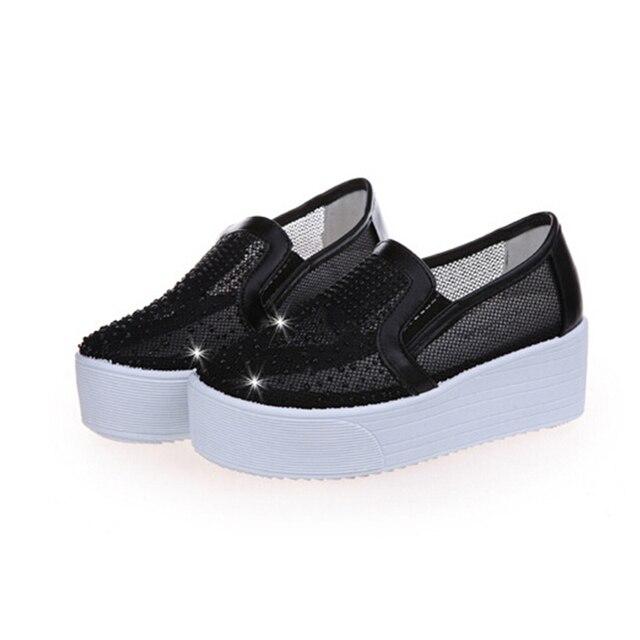 2016 весной и летом обувь дышащая ленивый толстая корка сдобы студент горный хрусталь сандалии сетки обувь женщины a122