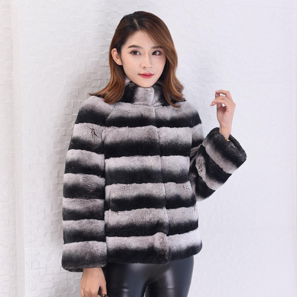 Natural Chinchilla Rex Rabbit Fur Coat Jacket Short Overcoat Stand Collar Striped Outerwear Coats 2018 Women's Winter Clothing