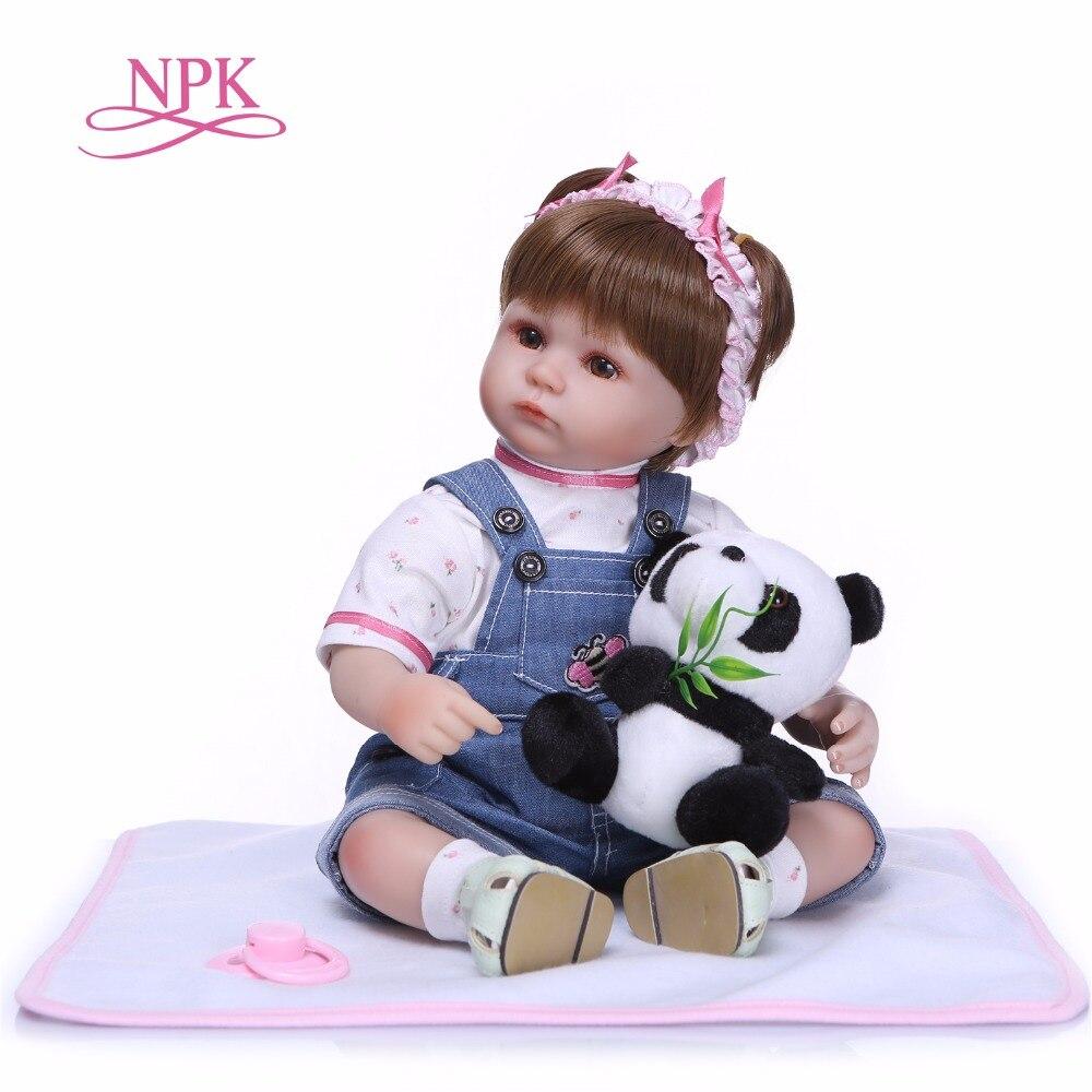 NPKCOLLECTION 43 см реалистичные Реалистичного Reborn Baby Doll Bebe Кукла реборн игры игрушки для детей Рождественский подарок мягкие силиконовые куклы