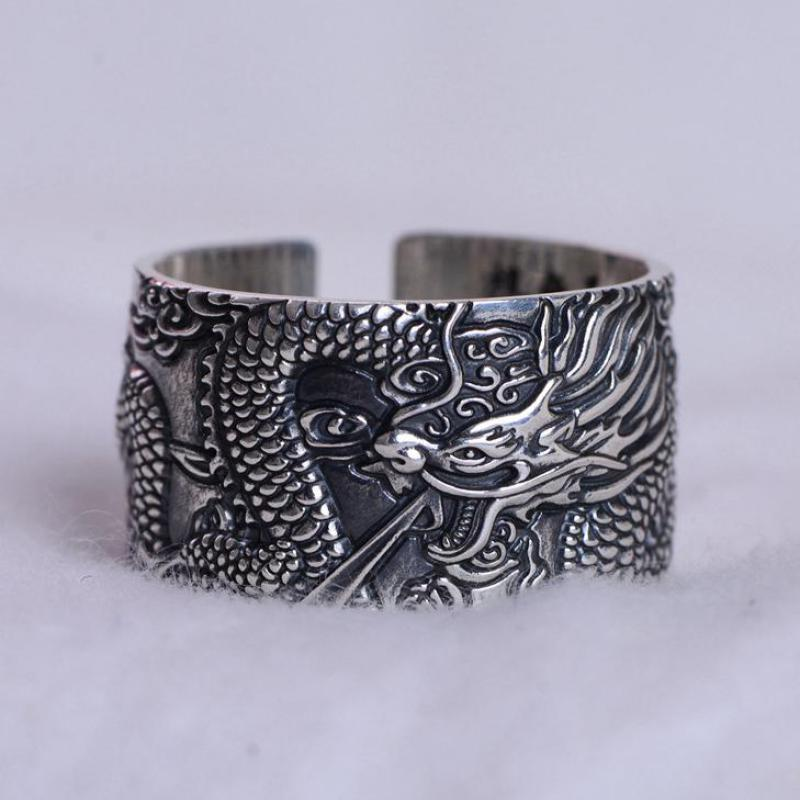 Real 999 Pure Silver Mens Biker Rings With Flying Dragon Vintage Punk Style Heart Sutra Engraved Buddhism Animal Jewelry a suit of vintage engraved rivet rings