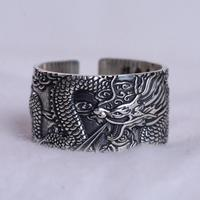 Real 999 Pure Silver Mens Biker Rings With Flying Dragon Vintage Punk Style Heart Sutra Engraved Buddhism Animal Jewelry