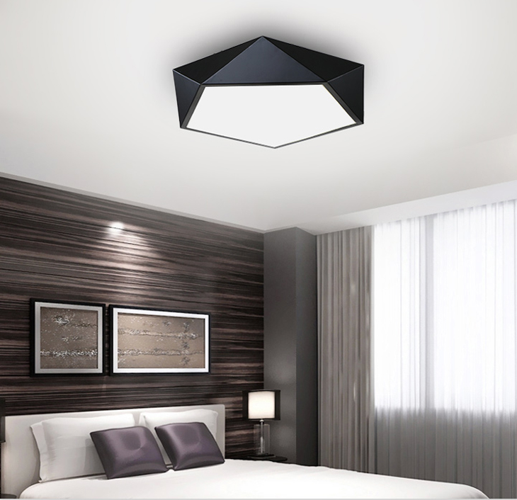 HTB1RbUGdER1BeNjy0Fmq6z0wVXaz Ultrathin Modern LED ceiling lights simple home deco fixtures Bedroom dining living room iron black white pentagon ceiling lamp