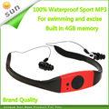 Auriculares mp3 player natación mp3 a prueba de agua con 4 GB de memoria flash mp3 FM reproductor de música para deporte ejercicio entrega de DHL