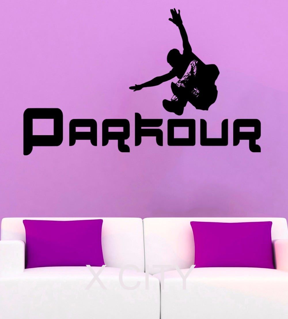 Parkour wall stickers street sport vinyl decals cool teen for Stickers per camera da letto