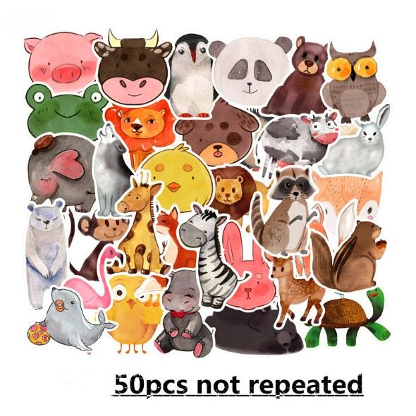 FXINBA New 50Pcs/Pack Cartoon PVC Reusable Animals Sticker Prank Waterproof Skateboard Laptop Stickers Fridge Sticker Kids Toys