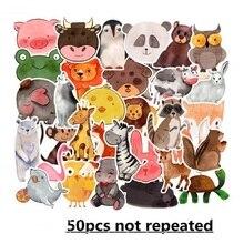 FXINBA New 50Pcs/Pack Cartoon PVC Reusable Animals Sticker Prank Waterproof Skateboard Laptop Stickers Fridge Kids Toys