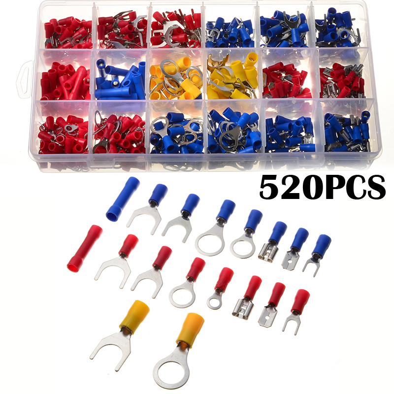 520pcs/Set Electrical Wire Spade Ring Fork Terminals Assorted Insulated Connector Red Yellow Blue Crimp Termiantors Kit 1000pcs electrical wire connector insulated crimp terminals kit spade assorted set fork ring assorted set with box