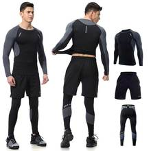Men Long Johns Winter Fitness Gymming Sporting Suit Runs Top Shirts + Tight + Shorts Leggings Pants Thermal Underwear Sets