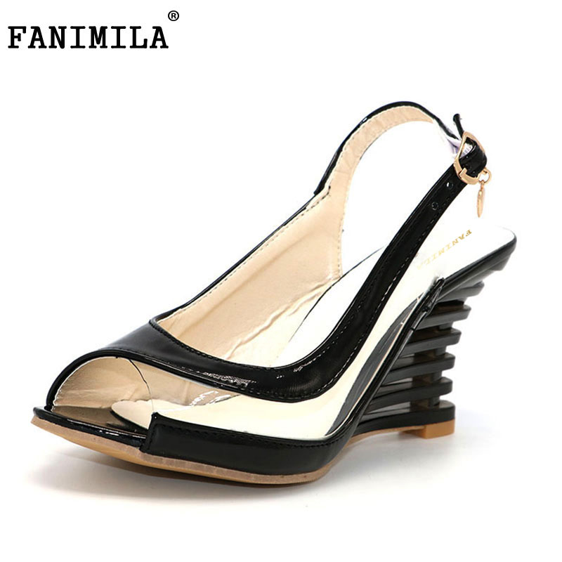 FANIMILA Women High Heel Sandals Lady Gladiator Patent Leather Wedges Peep Open Toe Summer Sandals Female Shoes P3319 Size 34-39 genuine leather chunky heel gladiator ankle wrap women summer sandals 2015 new lady fashion peep toe shoes size 34 39 sxq0921