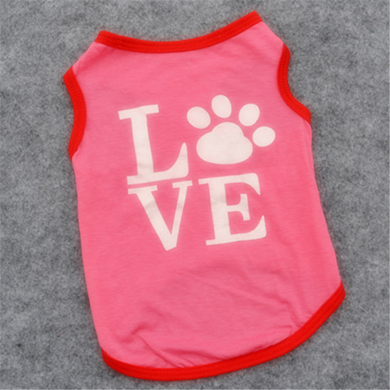 Dog clothes letter print love Pet puppy Autumn cute pink dog vest cool breathable dog shirt for small dog Whole sale