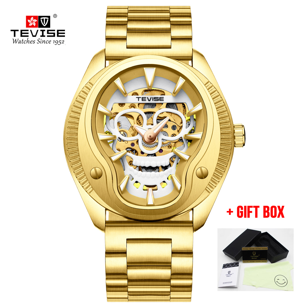 Men Watches Tevise Mechanical Watches Golden Skull Sculpture Waterproof Male Wristwatch For Men Relogio Automatico masculinoMen Watches Tevise Mechanical Watches Golden Skull Sculpture Waterproof Male Wristwatch For Men Relogio Automatico masculino
