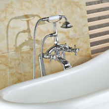 Chrome Brass Free Standing Tub Filler Ceramic Hand Shower Bathroom Tub Faucet