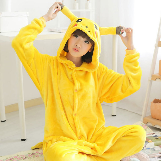 Teenagers Girls Flannel Nightgown Spring Big Boys Pijamas Warm Anima Pikachu Hooded Children Kids Pajamas Sleepwear 9-16Age