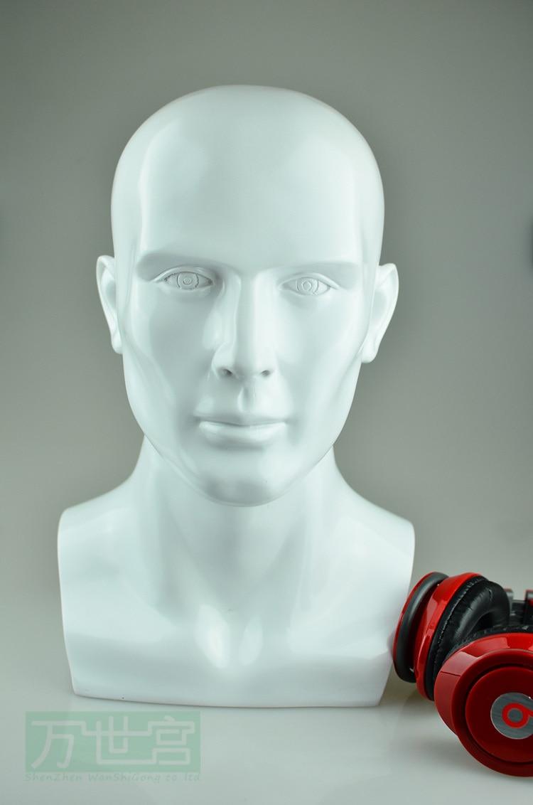 ᓂFiberglass White Mannequin Head Male For Wig - a233