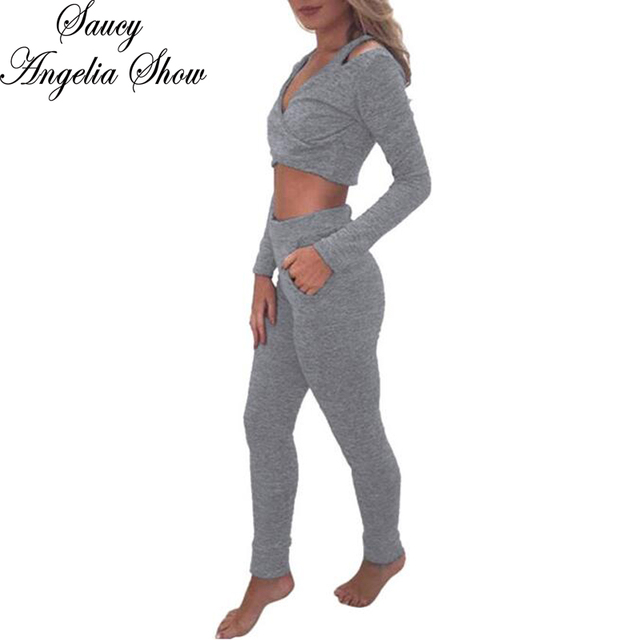 0969c7f67693 SAUCY ANGELIA Rompers Womens Jumpsuit Sexy Gray 2 Piece Set Crop Top Bodysuits  Slimming Party Overalls Stretchy Playsuits Outfit