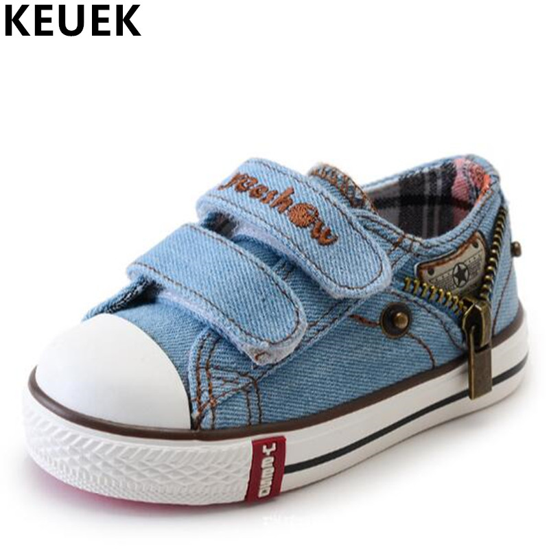 Fashion Children Flats Hook & Loop Casual Canvas shoes Boys Girls Sneakers Sport shoes K ...