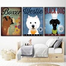 Westie cão preto arte café decoração da parede bonito cartaz animais pintura da lona decoração casa escandinavo sala de estar