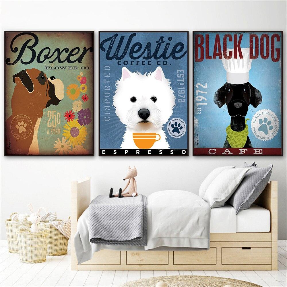 Westie Black Dog Art Coffee Wall Decor Cute Poster Animals Canvas Painting Home Decor Scandinavian Living Room Decoration