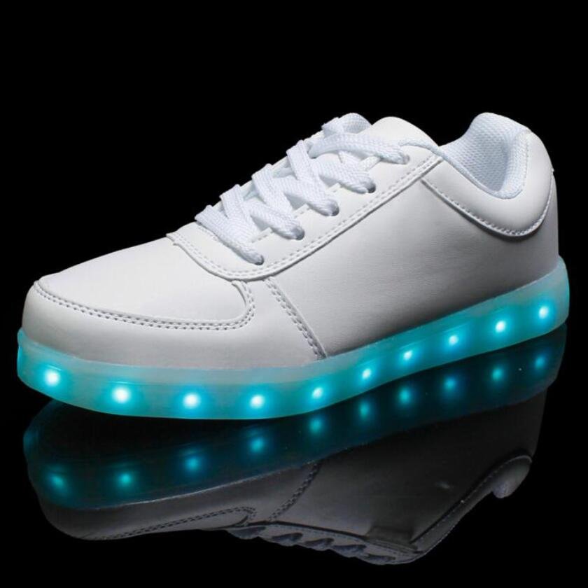 size 31-45 Child and adult men women LED Luminous shoes black white boy girls USB chargi ...