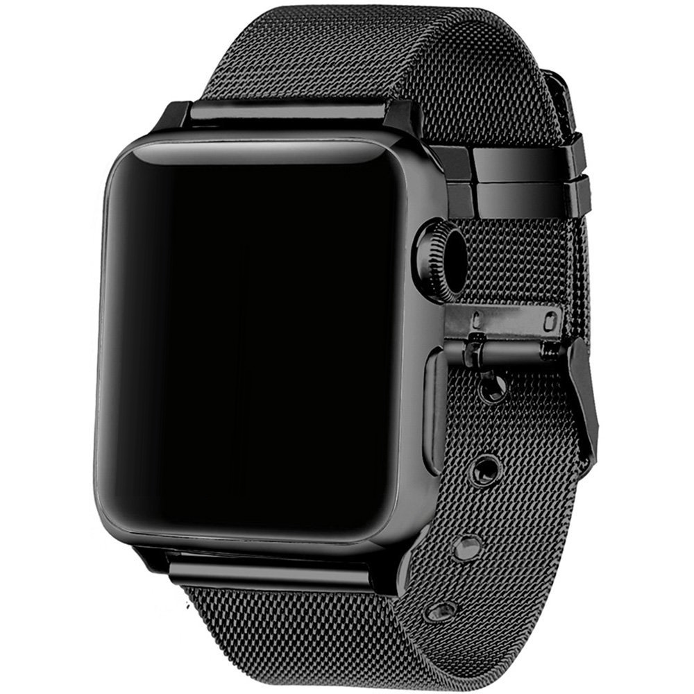 FOHUAS milanese loop for apple watch Series 3 2 1 replacement bracelet band iwatch stainless steel strap buckle with connector v moro stainless steel milanese loop band for apple watch 38mm 42mm with strap adapter