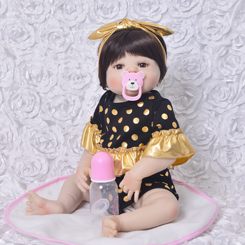 23inch reborn full Silicone Reborn Dolls Baby Realistic Doll Reborn adorable simulation girl Reborn Doll For Girls bathe toys