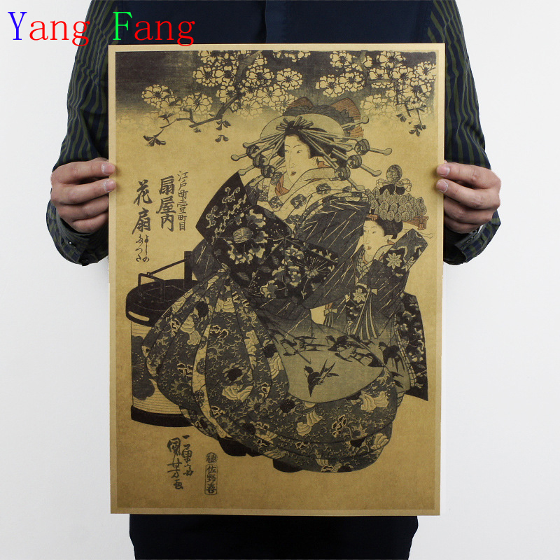 Kraft Paper Japanese Yamato-e In Kanagawa Oriental Style Retro Wall Poster Art Crafts Cafe Bar Decor Sticker 51*35CM