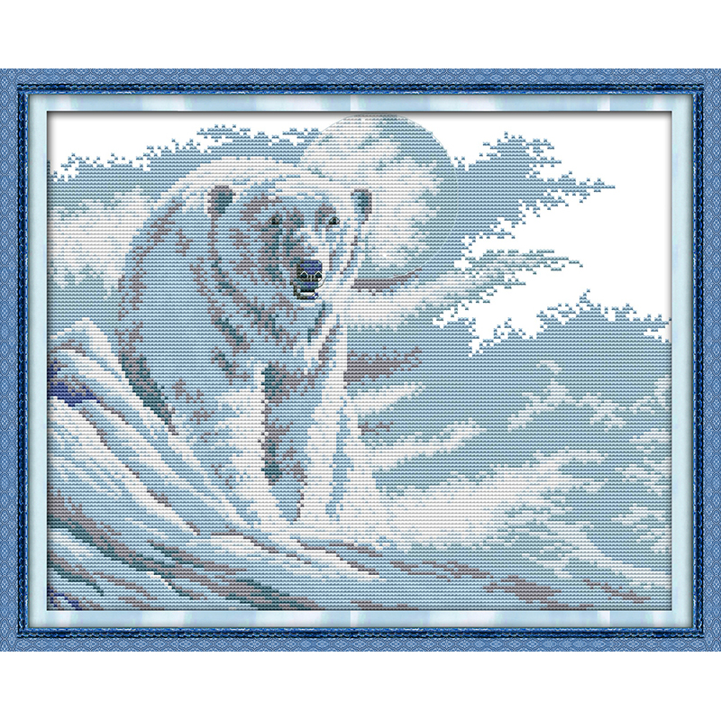 Everlasting love Polar bear Chinese cross stitch kits Ecological cotton stamped printed 11CT DIY new year decorations for home