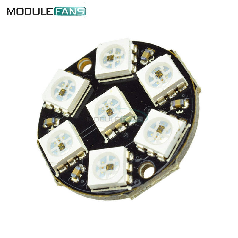 2PCS RGB LED Ring 8 x WS2812 5050 RGB LED with Integrated Drivers TOP