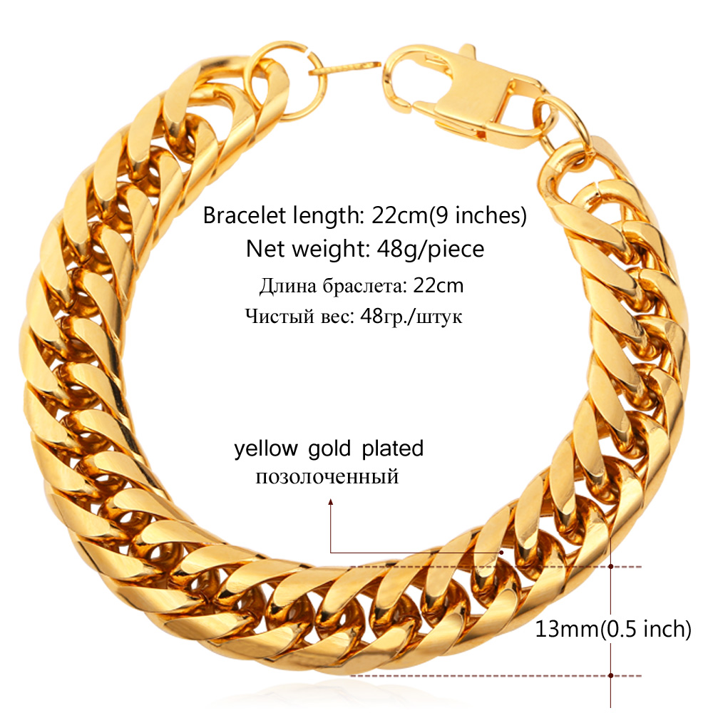 U7 Stainless Steel Bracelet Men Jewelry Whole Gold Color 21cm 13 Mm Thick Cuban Link Chain Mens Bracelets H772 In From