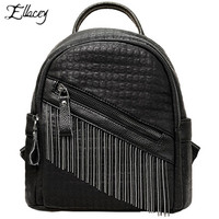 Ellacey 2019 Personal Tassel Leather Backpack Women Casual PU Leather Backpack Female Solid Color Bookbag Gift Backbag For Girls