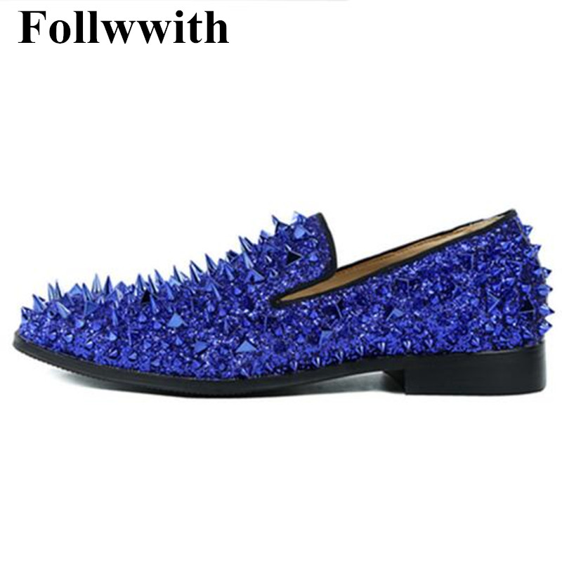 2018 Irregular Blue Rivets Cover Leather Cool Men Loafers Men Shoes Slip On Flats Casual Shoes Party Weeding Shoes Sapatos branded men s penny loafes casual men s full grain leather emboss crocodile boat shoes slip on breathable moccasin driving shoes